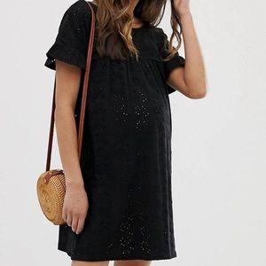 ASOS black eyelet maternity dress US 4 UK 8